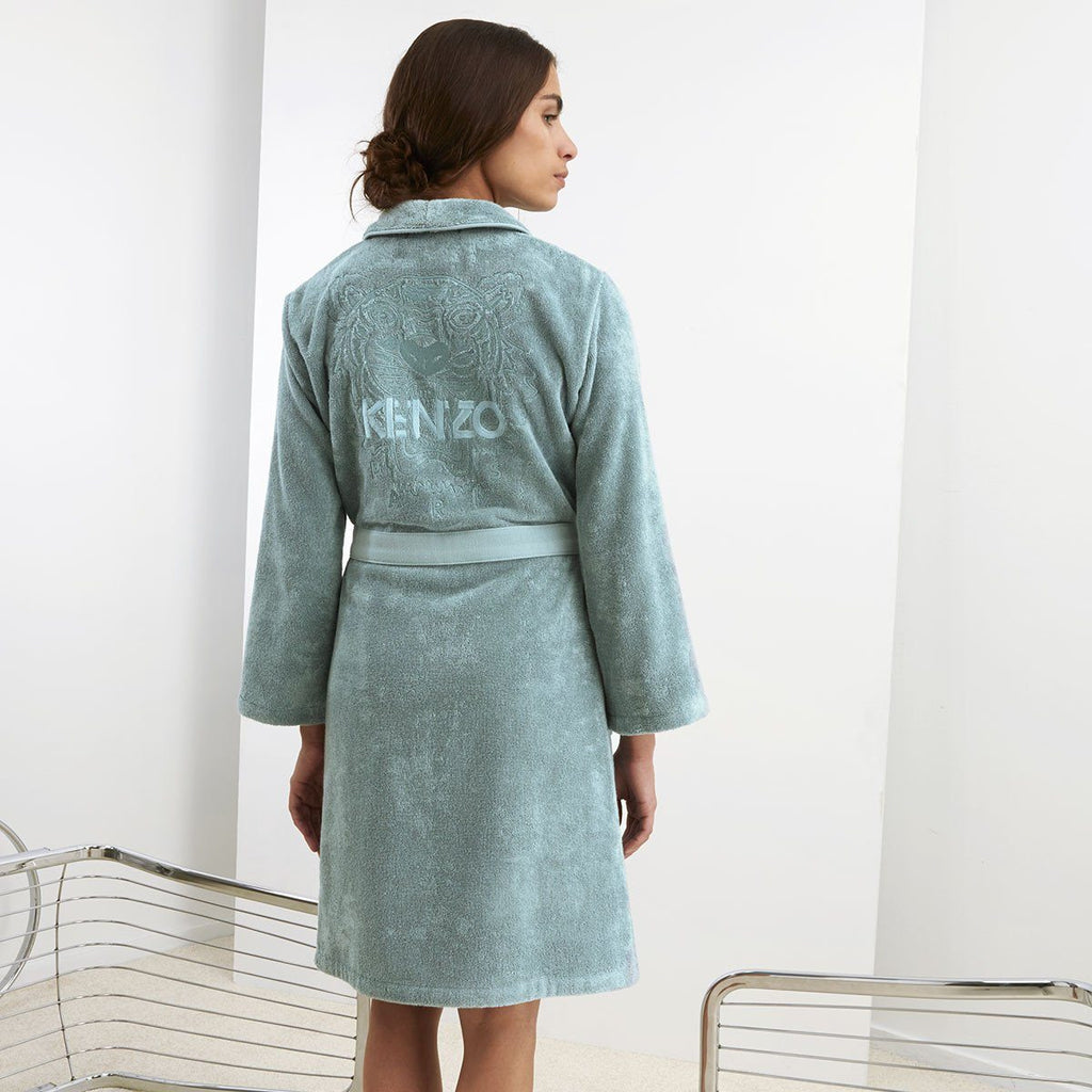 Iconic Igloo Aqua Bathrobe with Tiger Embroidery by Kenzo | Fig Linens