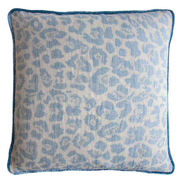 Blue Jacquard Woven Leopard Pillows by Kevin O'Brien Studio - Fig Linens