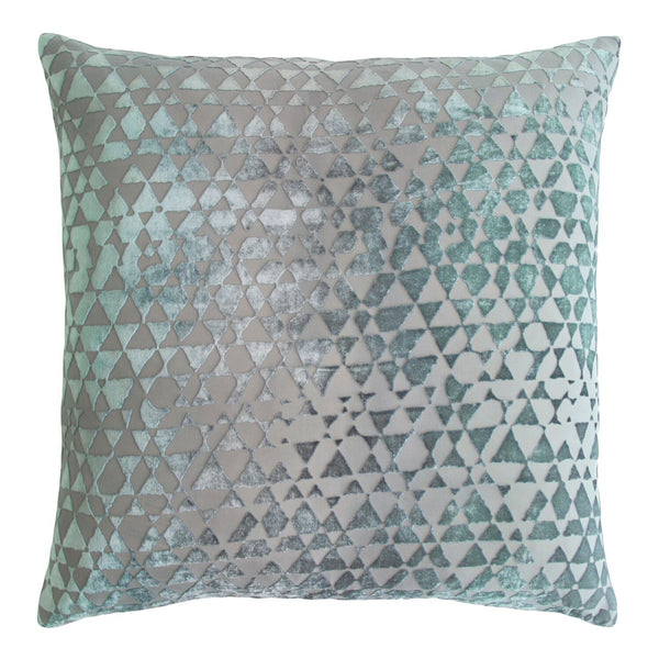 Triangles Jade Velvet Pillows by Kevin O'Brien Studio | Fig Linens