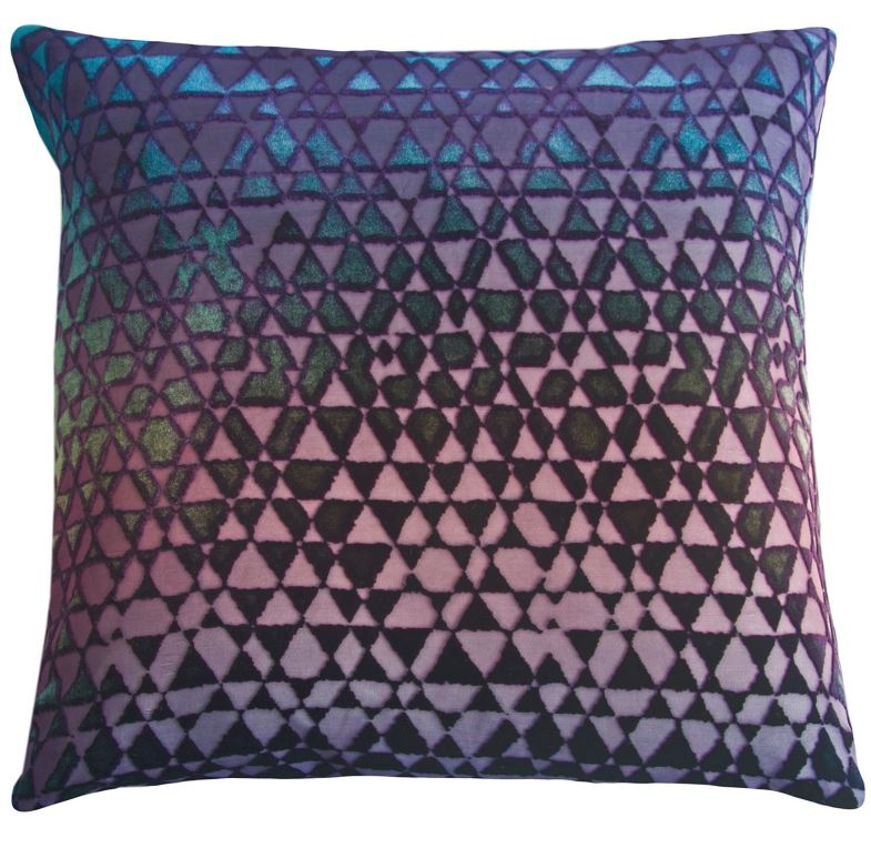 Fig Linens - Triangles Peacock Velvet Pillows by Kevin O'Brien Studio