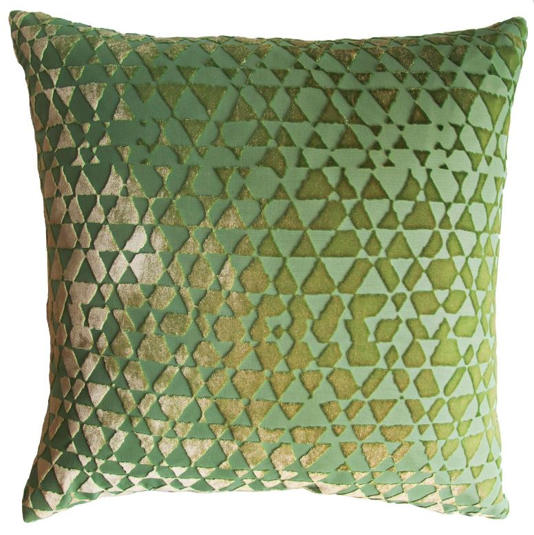 Triangles Grass Velvet Pillows by Kevin O'Brien Studio | Fig Linens