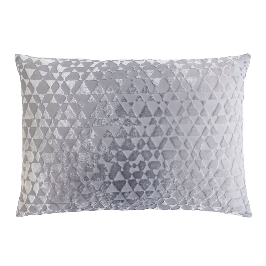Fig Linens - Triangles Silver Gray Velvet Pillows by Kevin O'Brien Studio