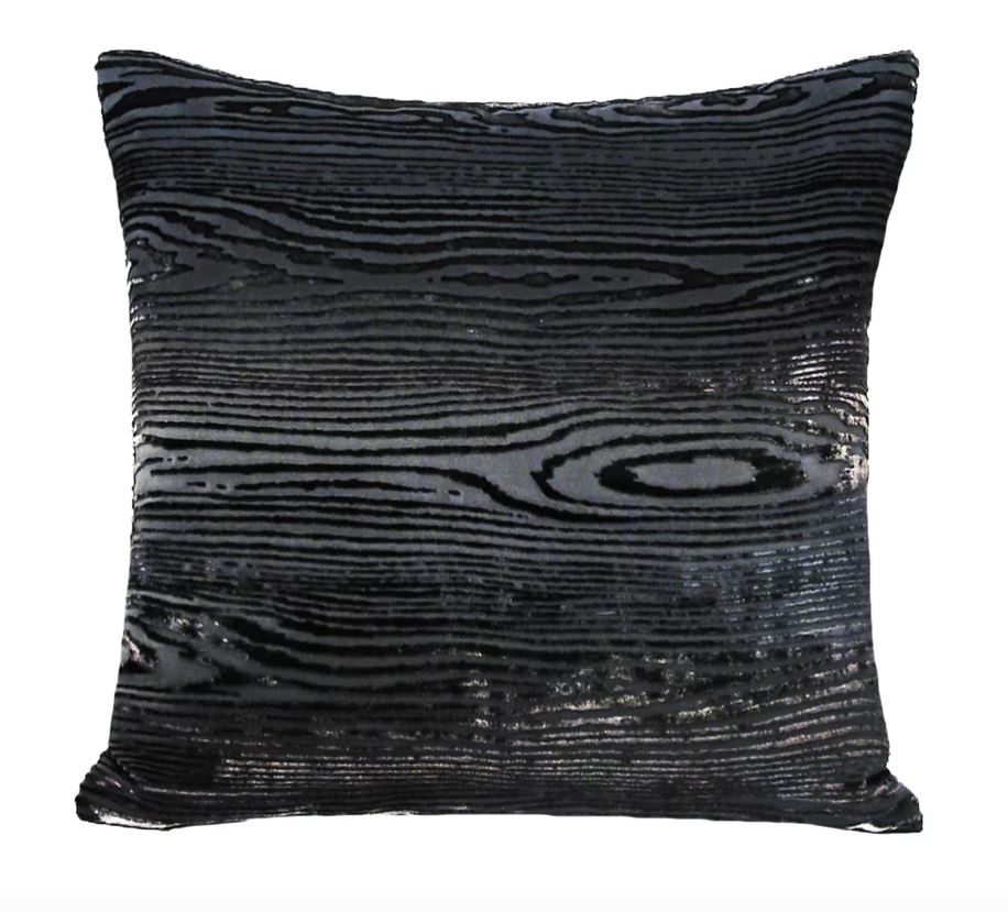 Woodgrain Smoke Velvet Pillows by Kevin O'Brien Studio | Fig Linens