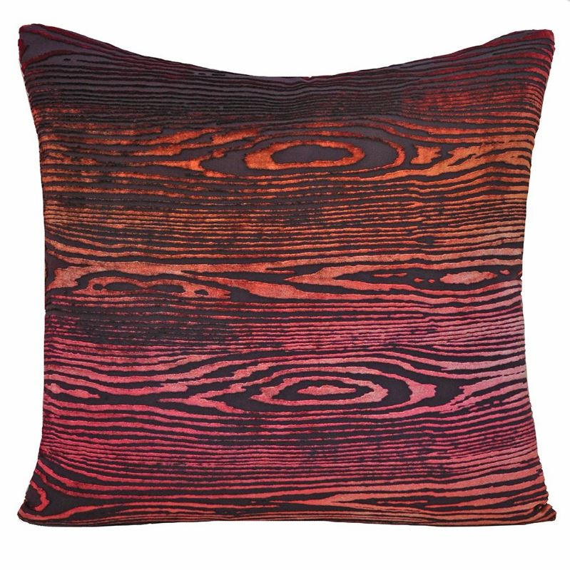 Fig Linens - Woodgrain Wildberry Velvet Pillows by  Kevin O'Brien Studio
