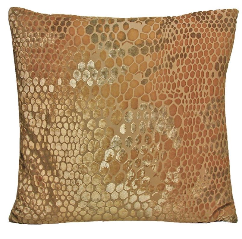 Fig Linens - Gold Beige Snakeskin Velvet Pillows by Kevin O'Brien Studio