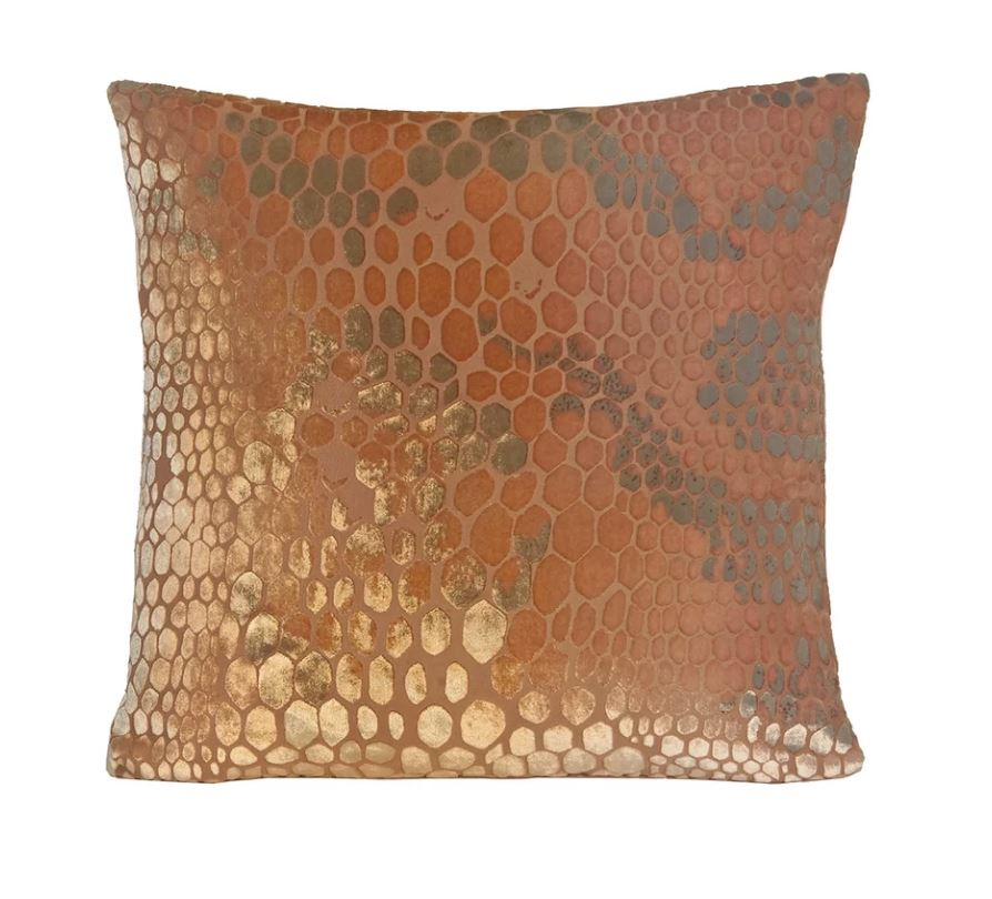 Kevin O'Brien Studio Snakeskin Velvet Pillows in Mango | Fig Linens