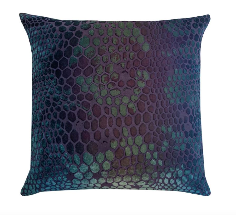 Kevin O'Brien Studio Snakeskin Velvet Pillows in Peacock | Fig Linens