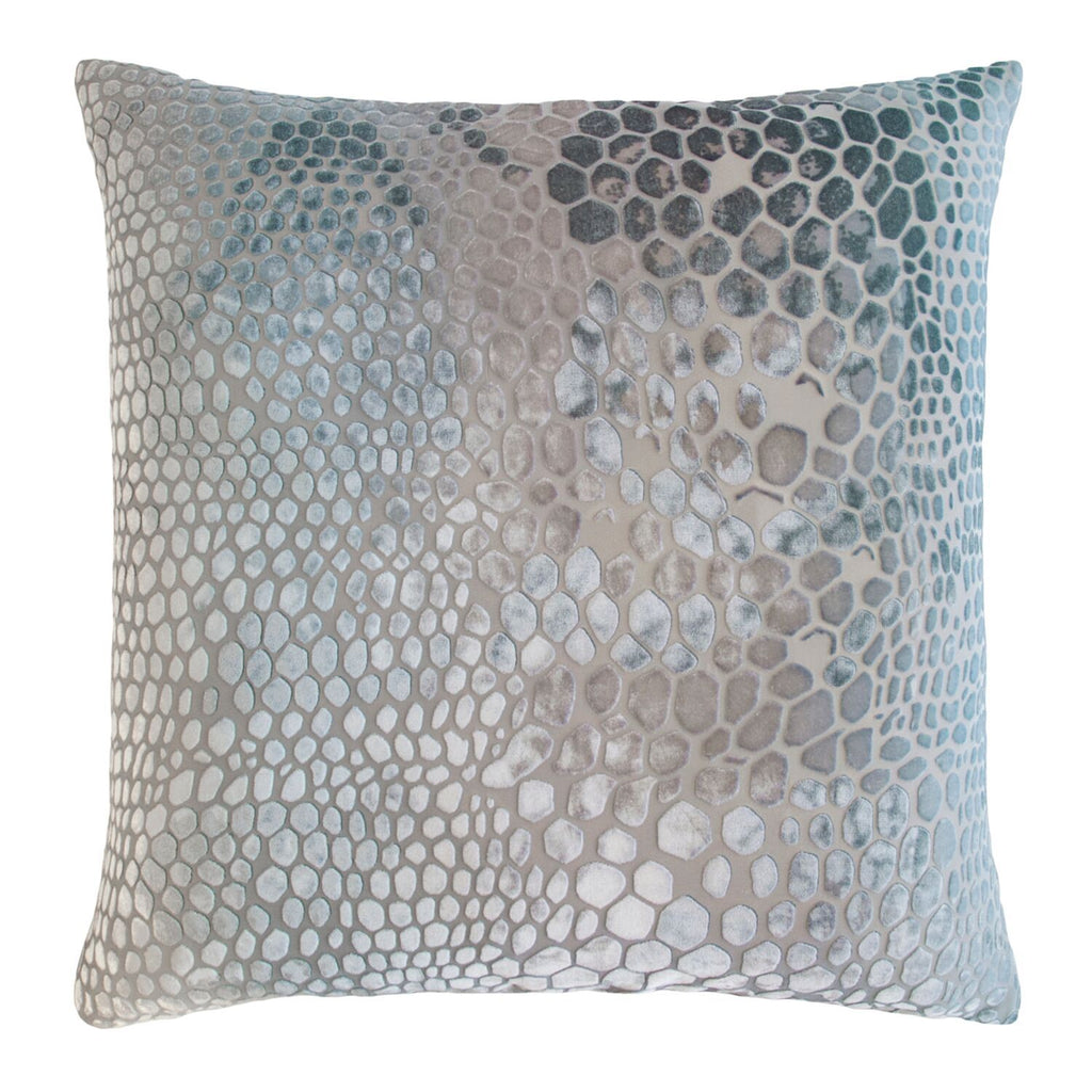 Fig Linens - Kevin O'Brien Studio Snakeskin Velvet Square Throw Pillows in Robin's Egg
