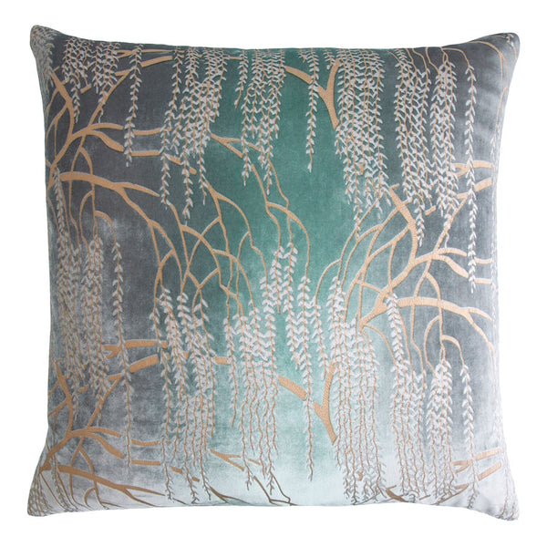 Fig Linens - Metallic Jade Willow Velvet Pillows by Kevin O'Brien Studio