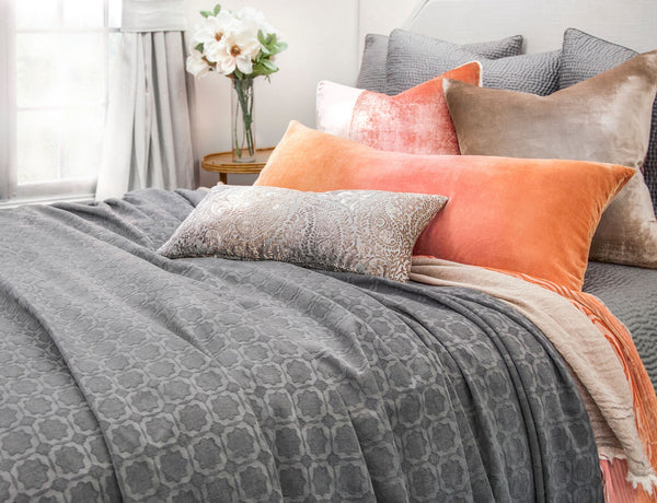 Starflower Charcoal Coverlet & Euro Sham by Kevin O'Brien Studio