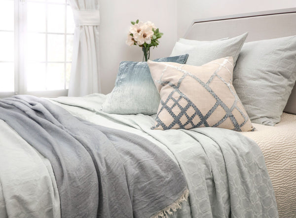 Fig Linens - Starflower Seaglass Coverlet & Euro Sham by Kevin O'Brien Studio