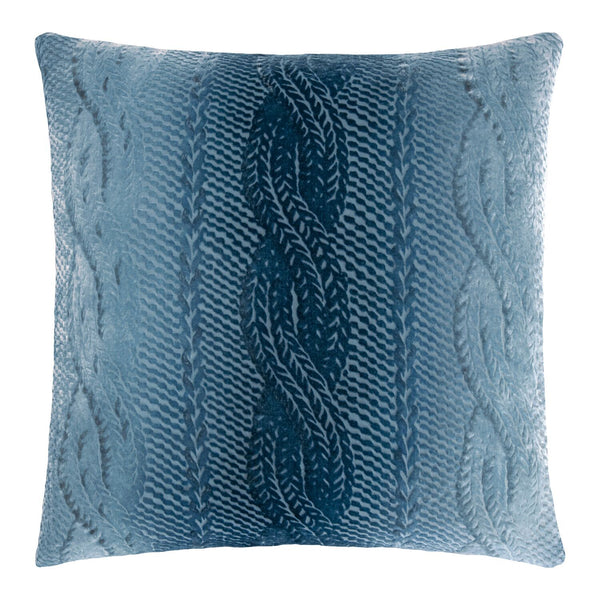 Denim Cable Knit Velvet Pillows by Kevin O'Brien Studio | Fig Linens