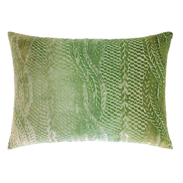 Grass Cable Knit Velvet Lumbar Pillows by Kevin O'Brien Studio | Fig Linens