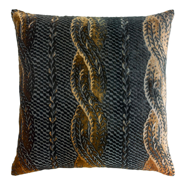 Copper Ivy Cable Knit Velvet Throw Pillows by Kevin O'Brien Studio | Fig Linens