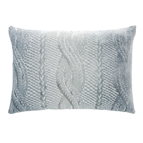 Mineral Cable Knit Velvet Lumbar Pillows by Kevin O'Brien Studio | Fig Linens