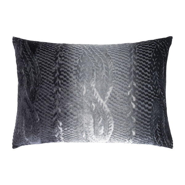 Smoke Cable Knit Velvet Pillows by Kevin O'Brien Studio | Fig Linens
