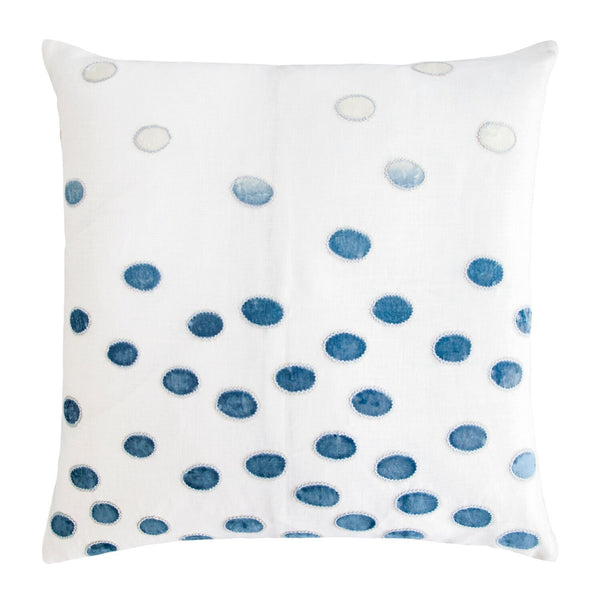 Fig Linens - Azul Ovals Velvet Appliqué Square Pillows by Kevin O'Brien Studio