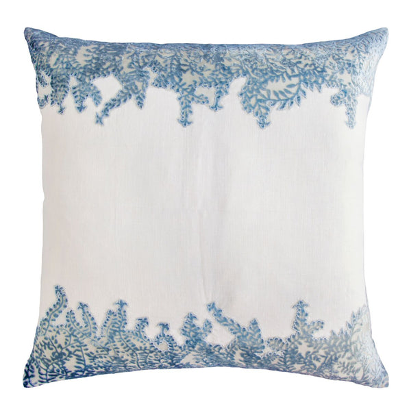Azul Ferns Velvet Appliqué Square Pillow by Kevin O'Brien Studio | Fig Linens