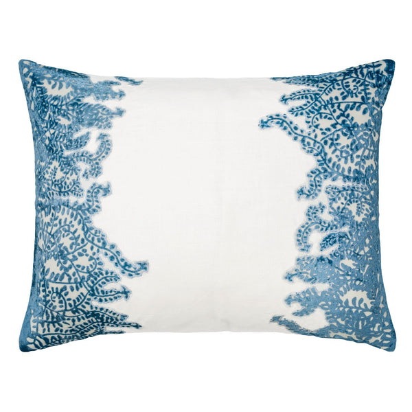 Azul Ferns Velvet Appliqué Pillow by Kevin O'Brien Studio | Fig Linens