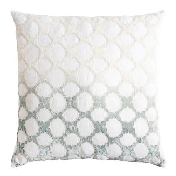 Fig Linens - Sage & White Fretwork Velvet Appliqué Pillow by Kevin O'Brien Studio