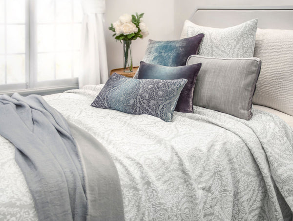 Henna Gray Coverlet and Decorative Pillows by Kevin O'Brien Studio | Fig Linens