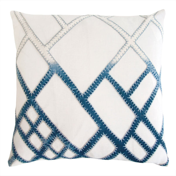 Azul Net Velvet Appliqué Pillow by Kevin O'Brien Studio | Fig Linens
