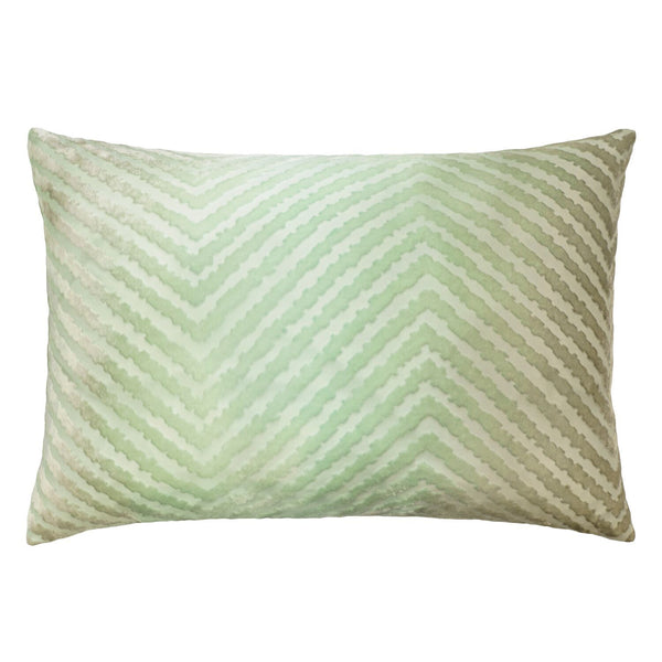 Pistachio Chevron Velvet Pillows by Kevin O'Brien Studio | Fig Linens