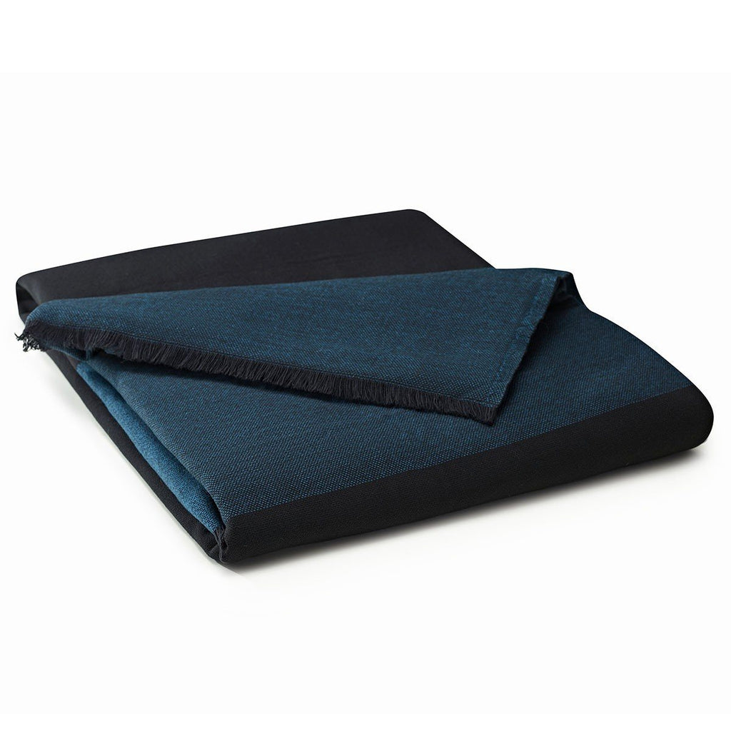 Duo Lagoon Blue and Black Wool Throw by Le Jacquard Français | Fig Linens