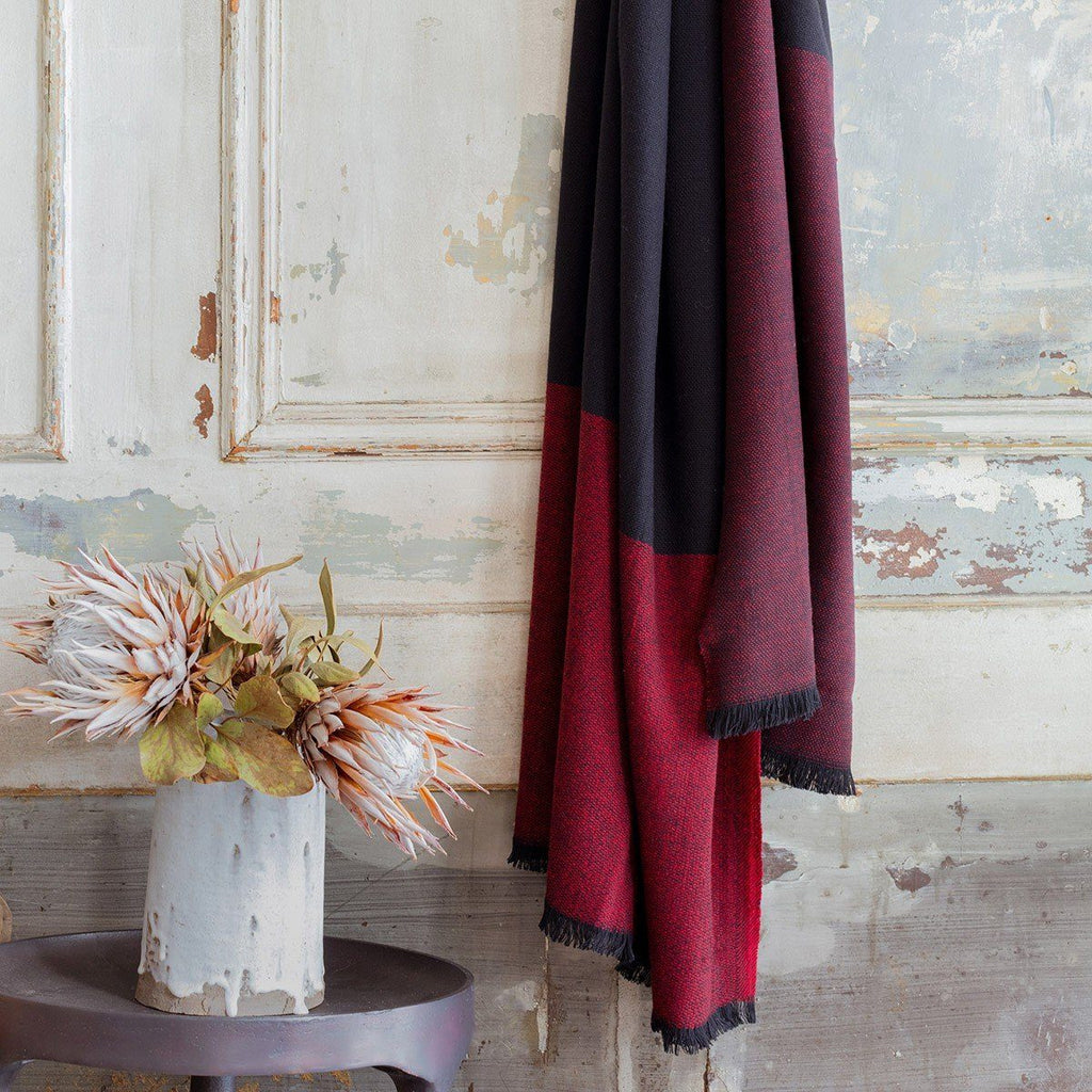 Duo Plum Wool Throw by Le Jacquard Français | Fig Linens