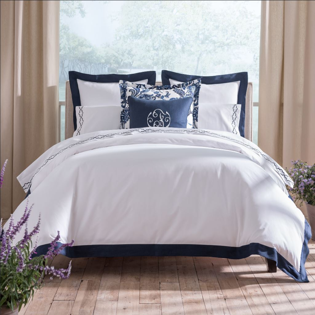 Mandalay Cuff Navy Bedding Collection by Peacock Alley | Fig Linens