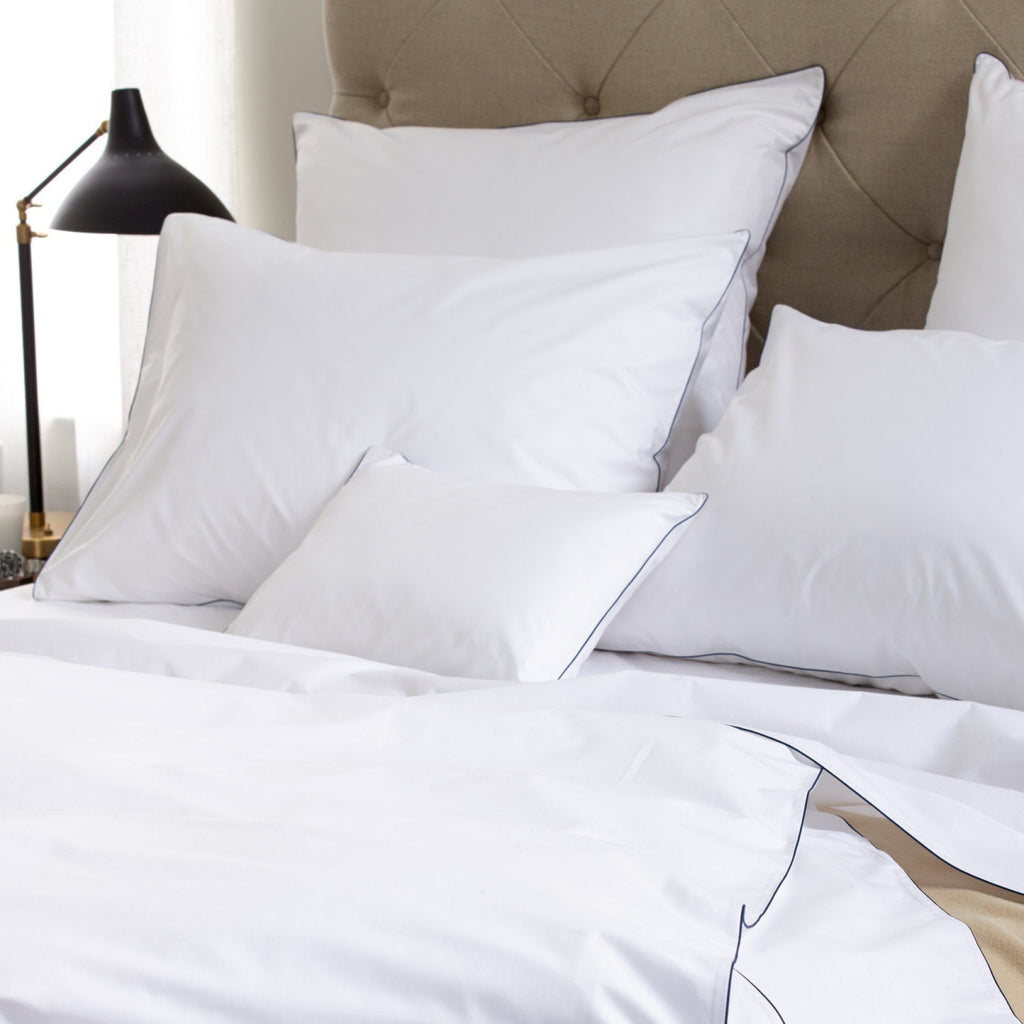 Matouk Luxury Bedding - Bryant Navy Duvet, sheets, shams - Fig Linens