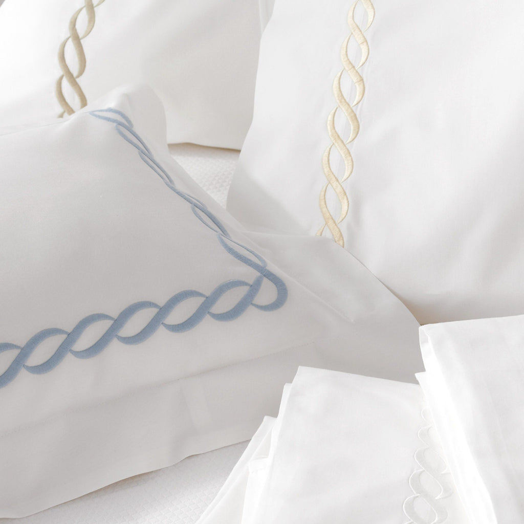 Matouk Luxury Bedding - Classic Chain percale pillowcases cases - Fig Linens