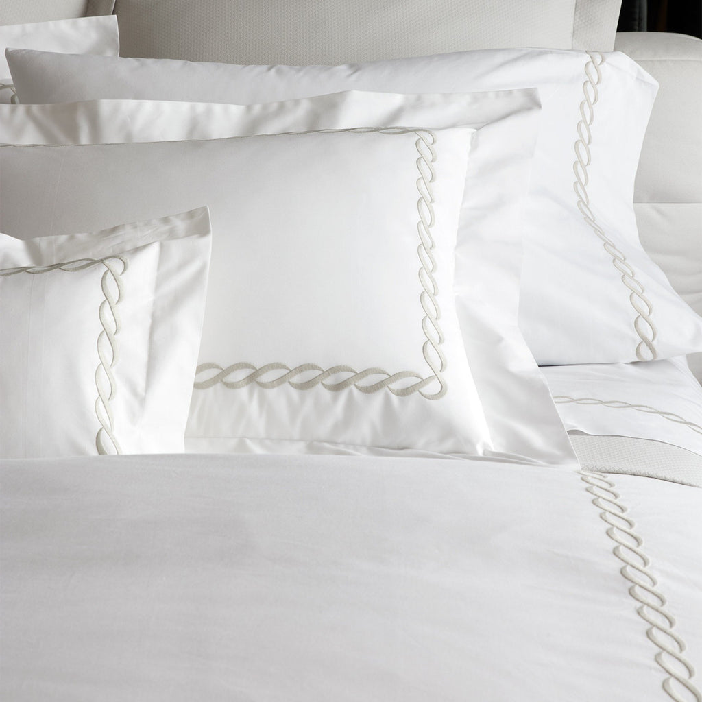 Matouk Luxury Bedding - Classic Chain Duvet, shams, sheets - Fig Linens