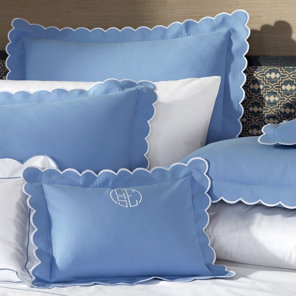 Matouk Bedding - Diamond Pique Azure Blue Bed Linens - Fig Linens