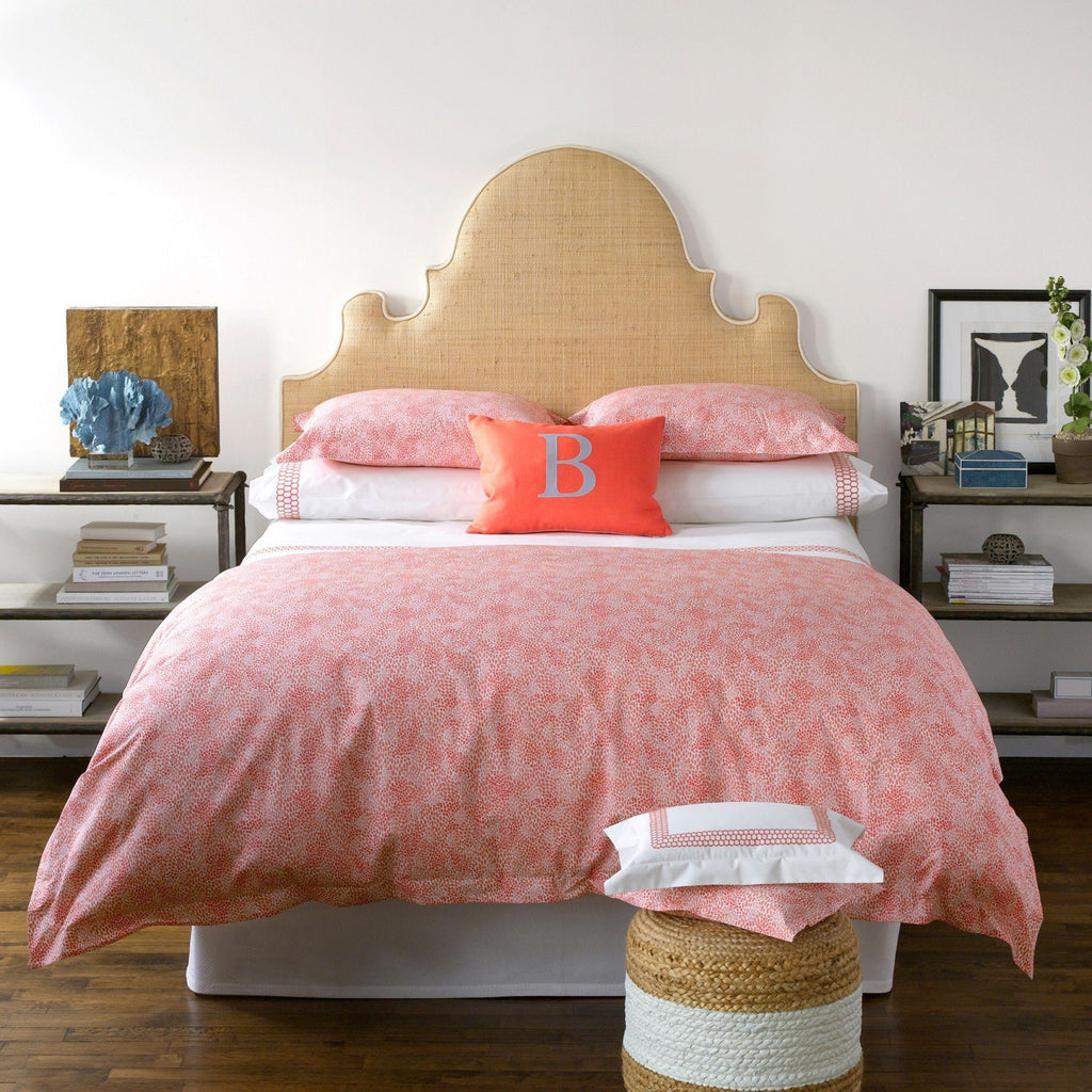 Matouk Liana Coral shown with Nikita Coral | Fig Linens