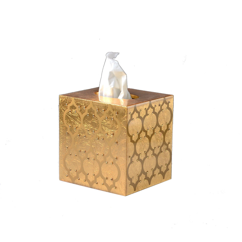 Fig Linens - Mike + Ally Arabesque Gold Bouquet Tissue Box Cover