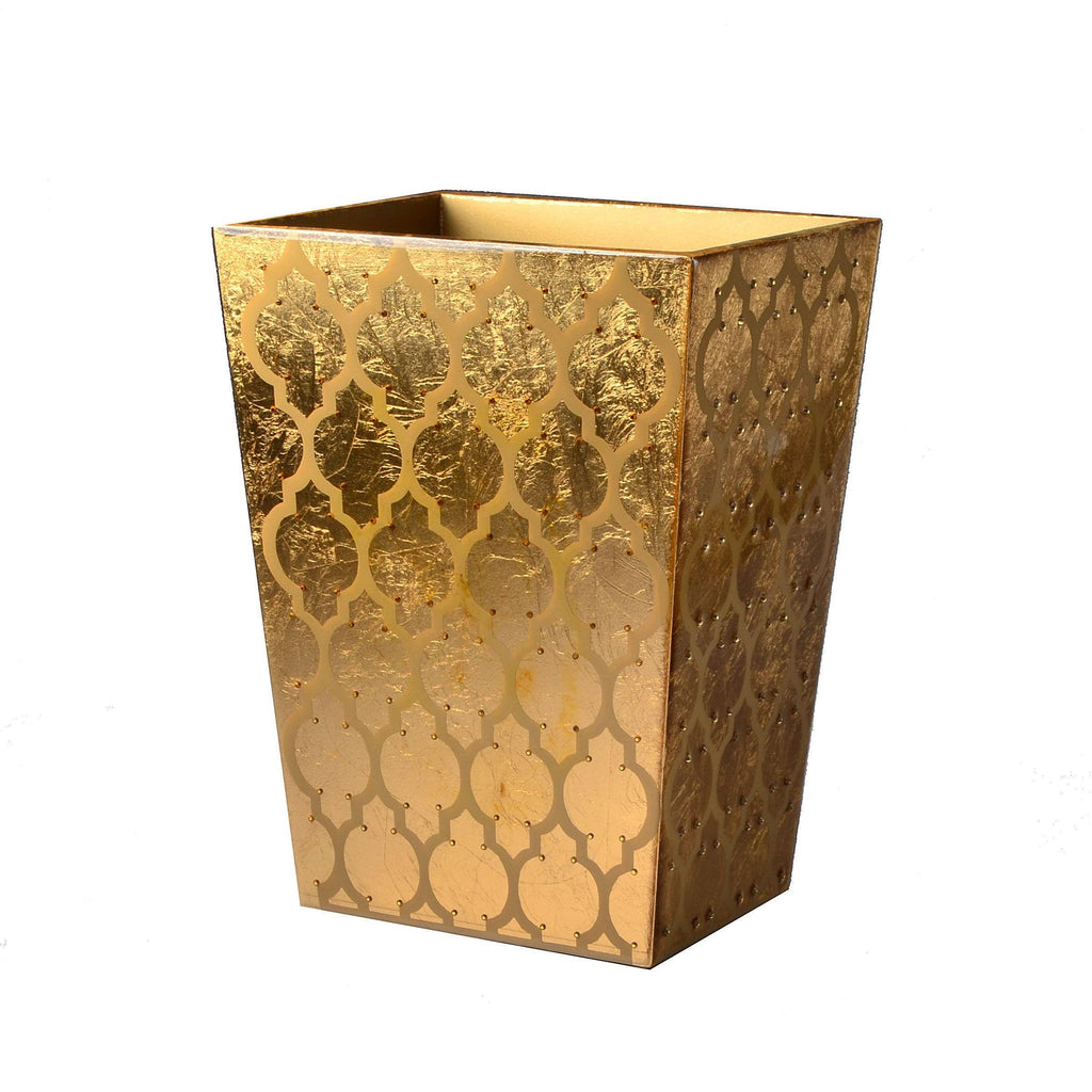 Fig Linens - Mike + Ally Arabesque Gold Wastebasket