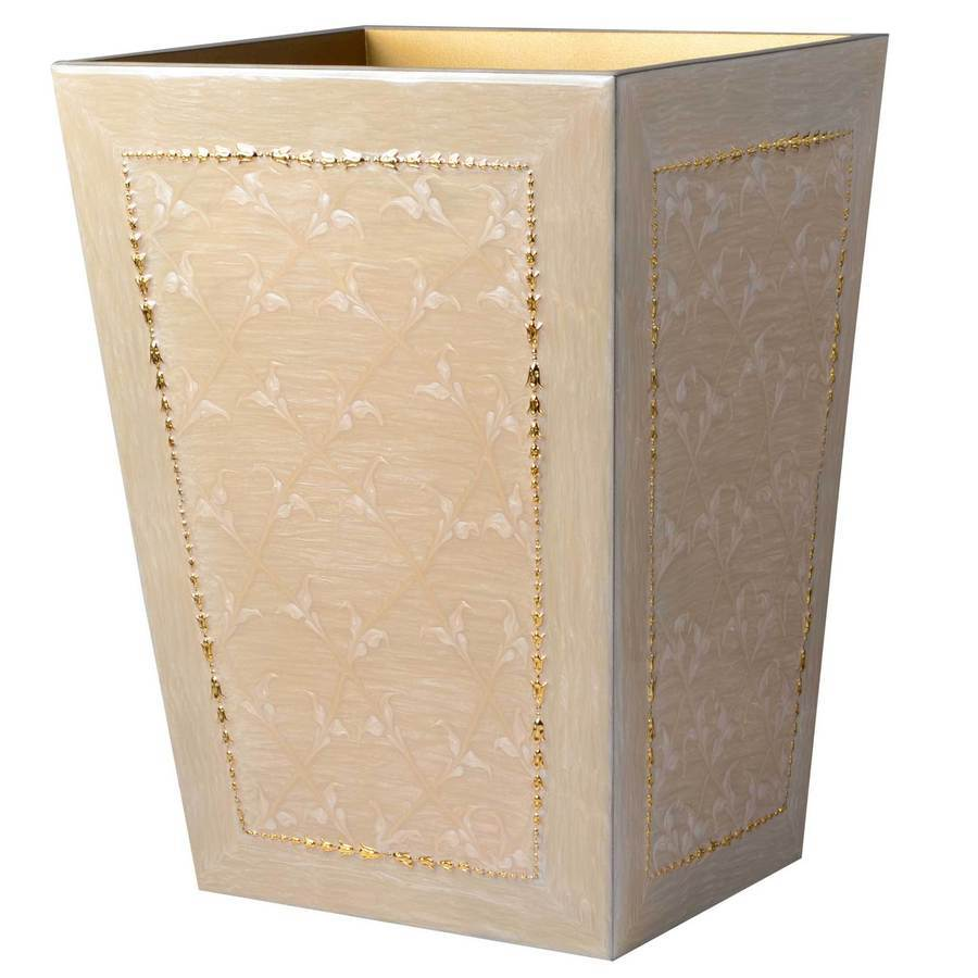 Fig Linens - Mike and Ally Putty and gold Wastebasket