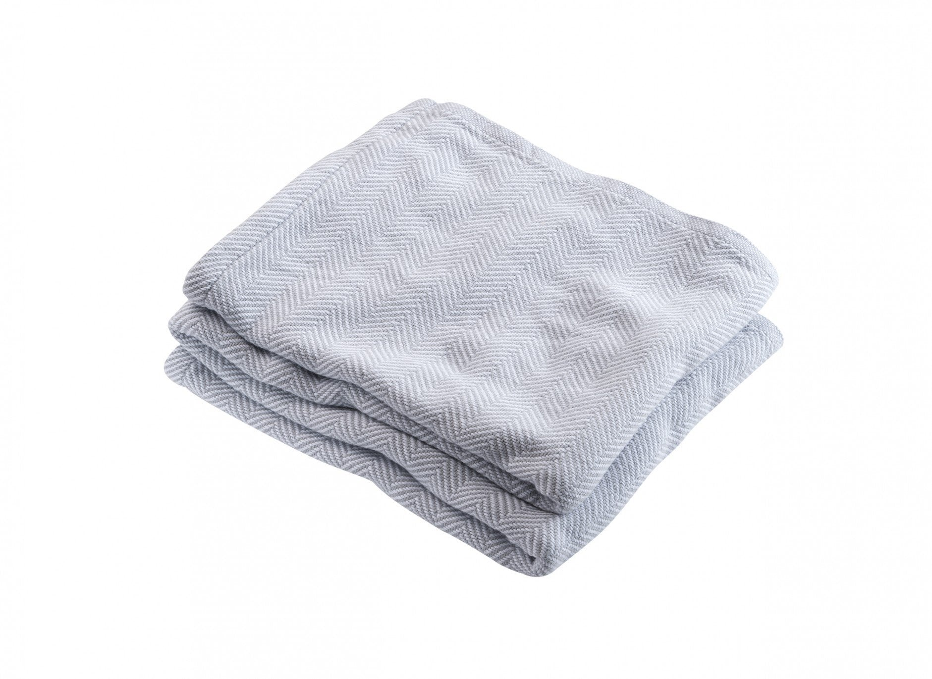 Dove Gray Penobscot Herringbone Cotton Blanket by Brahms Mount | Fig Linens