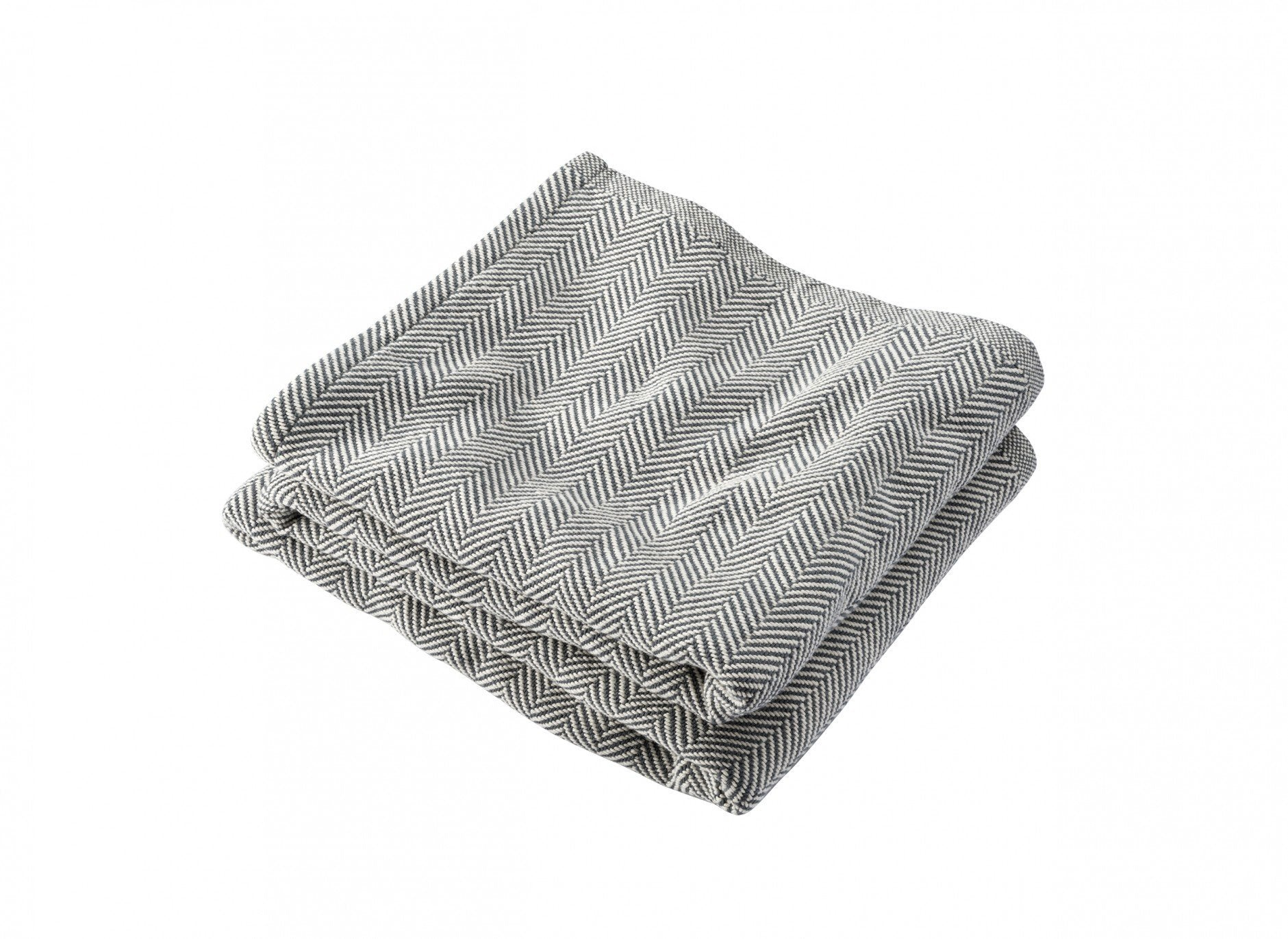 Slate Penobscot Herringbone Cotton Blanket by Brahms Mount | Fig Linens