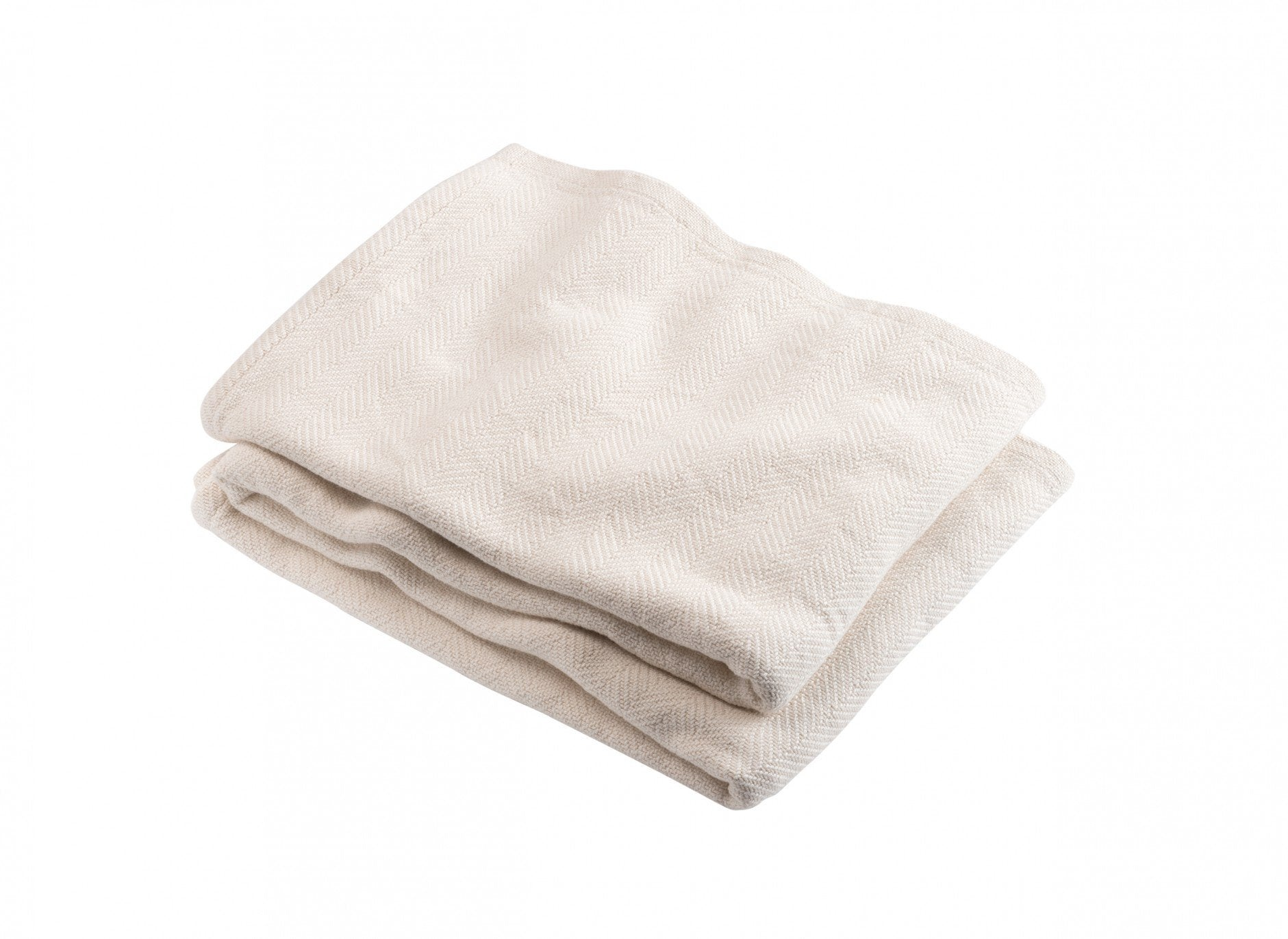 Natural Penobscot Herringbone Cotton Blanket by Brahms Mount | Fig Linens