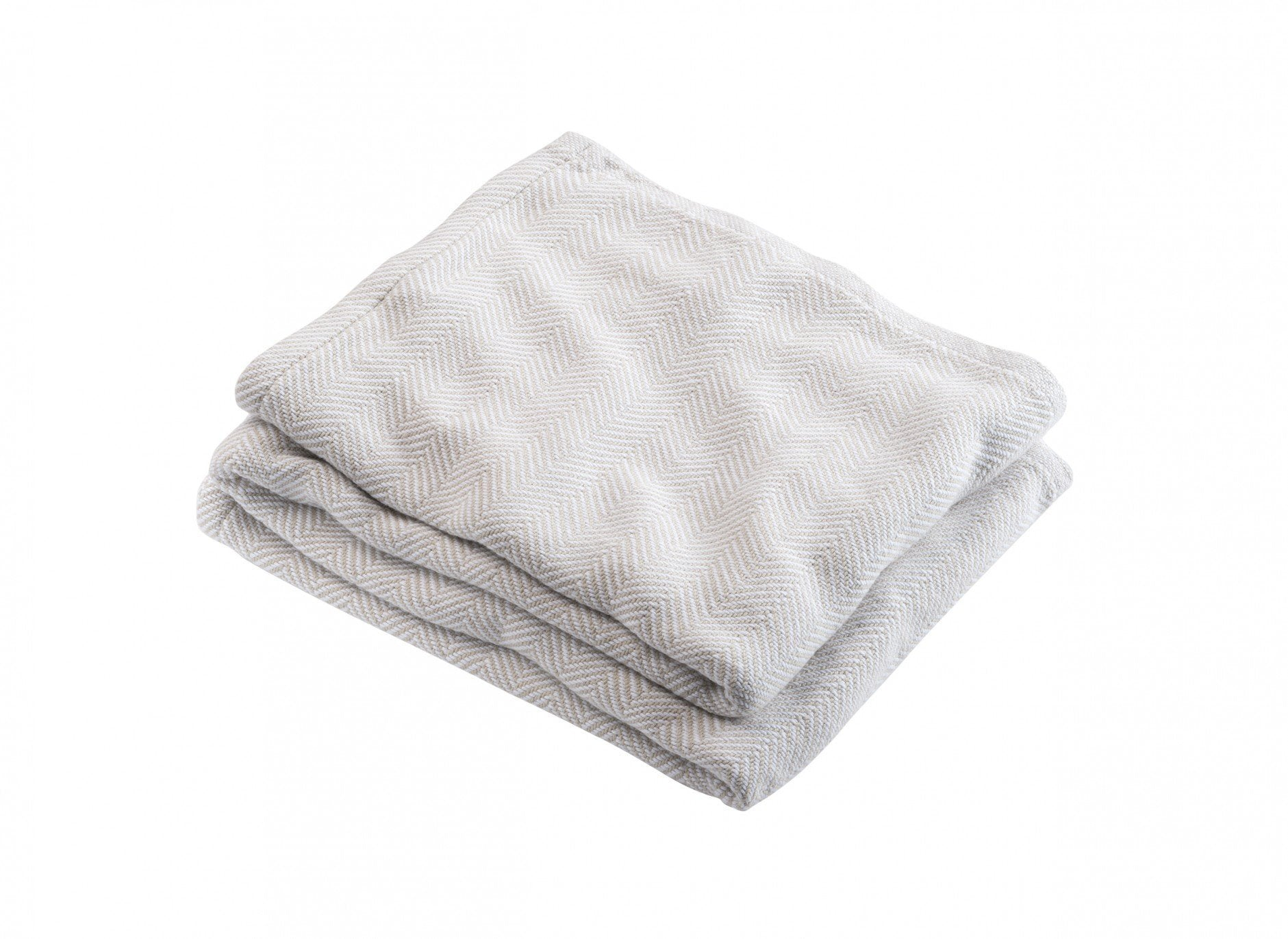 Oyster Penobscot Herringbone Cotton Blanket by Brahms Mount | Fig Linens