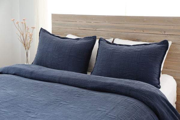 Harbour Navy Coverlet by Pom Pom at Home | Fig Linens and Home