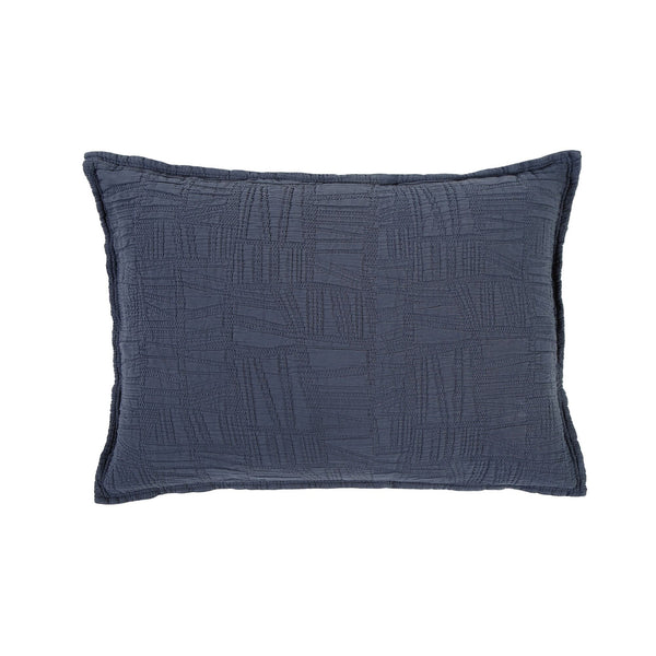 Harbour Navy Standard Sham by Pom Pom at Home | Fig Linens and Home
