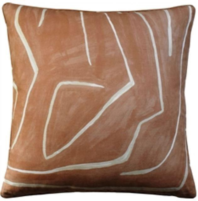 Graffito Salmon and Cream Pillow by Ryan Studio | Fig Linens