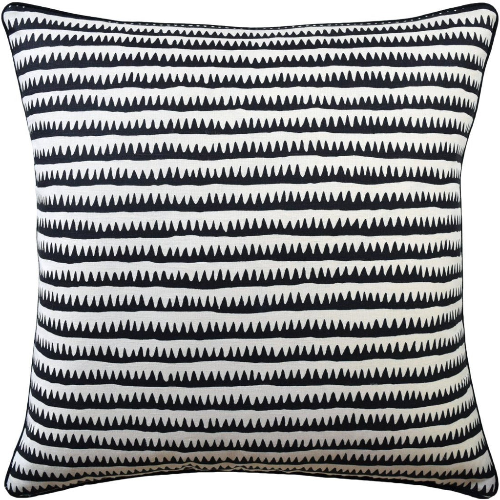 22x22 Corfu Stripe Black Pillow by Ryan Studio | Fig Linens and Home