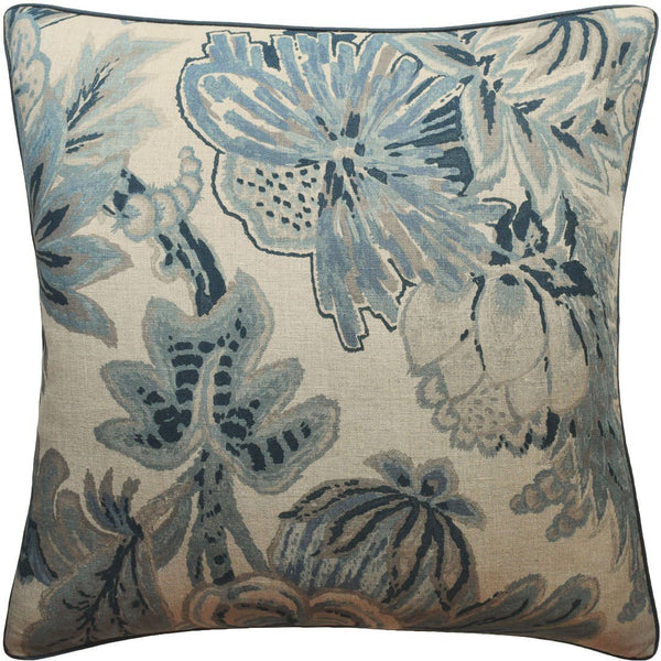 Slate Blue Floral Gala Pillow | Ryan Studio Pillows at Fig Linens