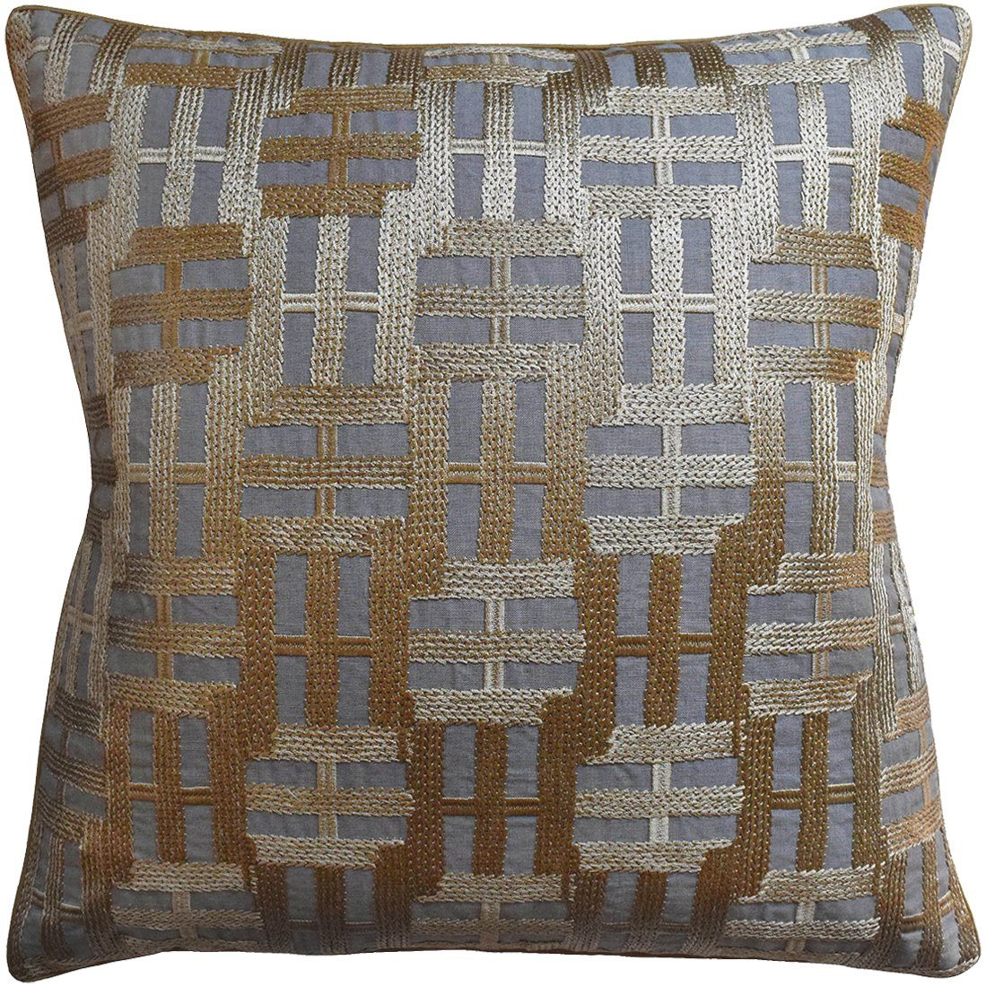 Locks Gold on Grey Pillow by Ryan Studio | Fig Linens and Home