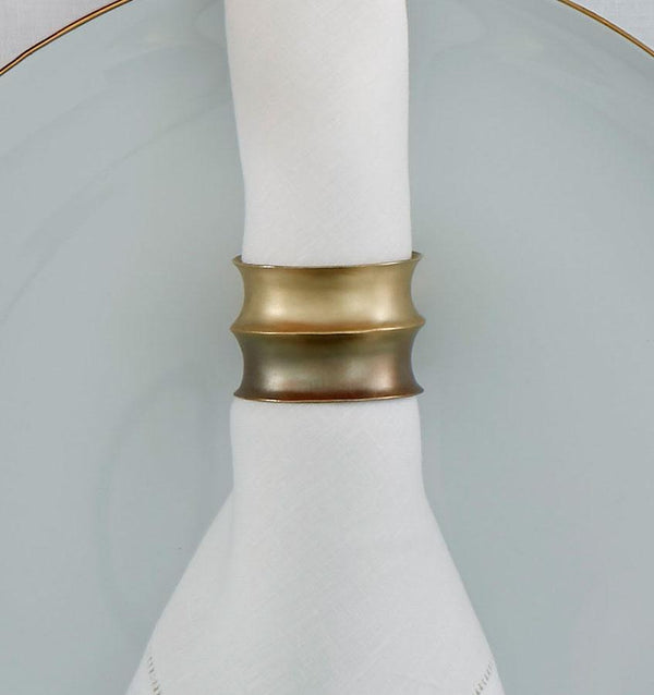 Campania Green & Brass Napkin Rings by Sferra - Set of 4 | Fig Linens