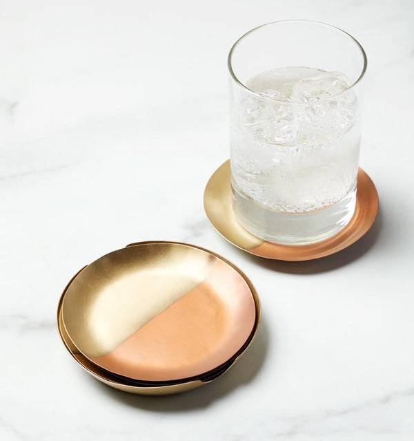 Campania Copper & Brass Coasters by Sferra - Set of 4 | Fig Linens